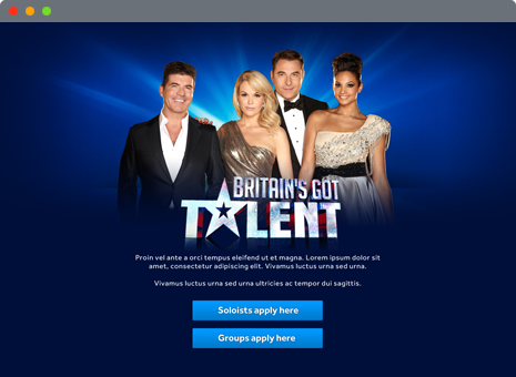 image of Britain's Got Talent application website homepage