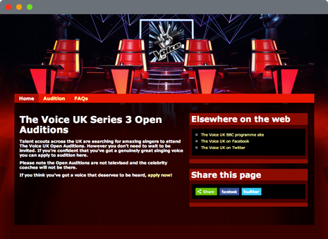 image of The Voice UK application website homepage
